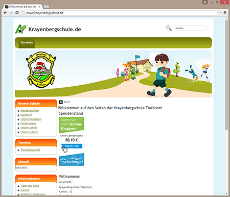Screenshot Homepage vor dem Relaunch